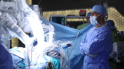 Robotic Surgery. Medical robot. Medical operation involving robot - Stock Image