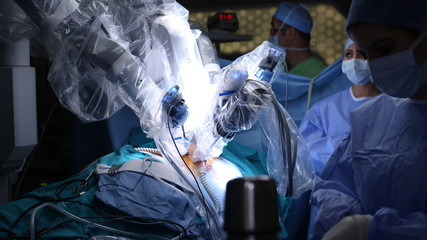 Robotic Surgery. Medical robot. Medical operation involving robot - Stock Image