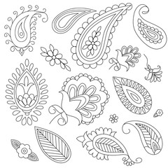 hand-drawn elements of ethnic paisley