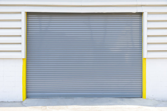 the gray shutter door at the factory