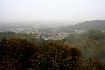 Top view of autumn forest near Karlovy Vary, Czech Republic