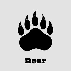 Black Bear Paw With Claws. Illustration Background And Text