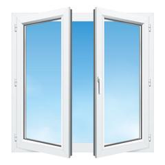 Menuiseries - Fenêtre PVC ouverte 2 vantaux