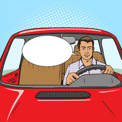 Man drive car pop art style vector