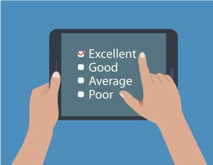 flat desing of  hands holding a tablet and touching it to making a feedback, vote, review and rate. the illustration can be used in many topic like requesting the opinion of customers.