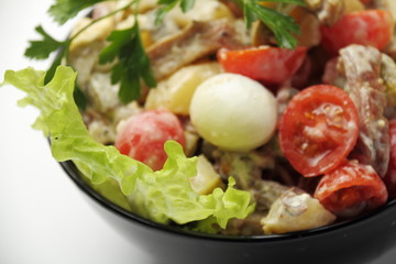 Meat salad. / Salad with chicken and vegetables.