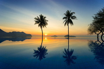 Silhouette of coconut trees agains sunrise off of the sea