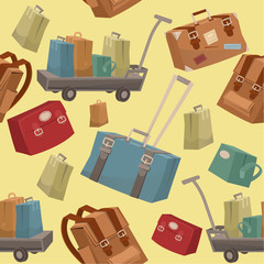 Seamless Travel Pattern with Baggage and Suitcases in Vector