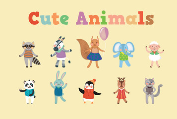 Set of Cute Animals for Decoration and Celebration Childrens Party