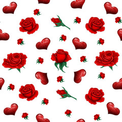 Seamless Pattern with Roses and Hearts for Valentine's Day, Wedding