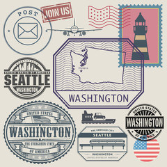 Stamp set with the name and map of Washington, United States