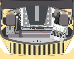 Top view of a car engine. Diagnosis and repair of the car. Vector illustration