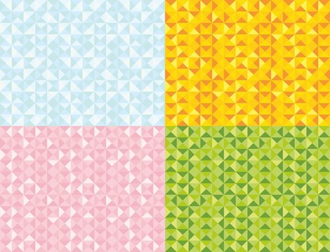 Seamless triangle pattern set. Vector background. Geometric colour abstract texture