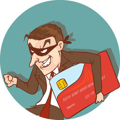 vector illustration of a credit card thief