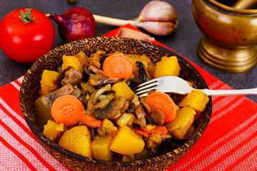 Pumpkin, Mushrooms, Onions and Carrots Stewed