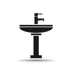 sink with faucet black icon