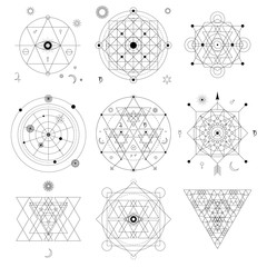 Abstract mystical geometry symbol set. Linear alchemy, occult, philosophical signs.