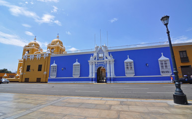 TRUJILLO, PERU - Colourful colonial style buildings surrounding the Plaza de Armas in Trujillo, Peru.