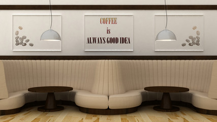 Coffee is always good idea poster in modern cafe interior. 3d render
