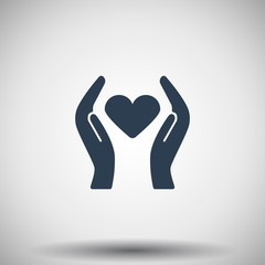 Flat black Heart care icon