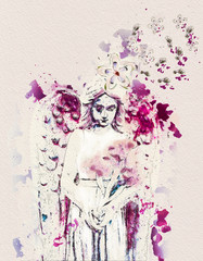 Contemporary painting of angel holding flowers. Mixed media.
