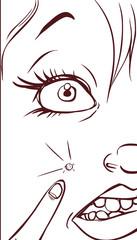 white background vector illustration of a  spotty girl