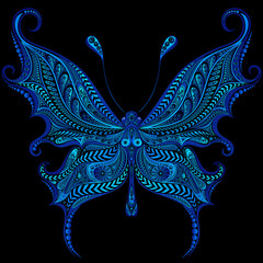 Abstract vector blue butterfly with patterns on a black background