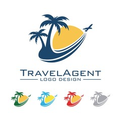 Travel And Tour Logo, Plane, Palm, Sun, Trajectory Design Logo Vector
