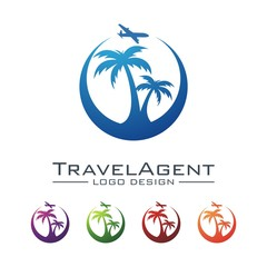 Travel And Tour Logo, Plane, Palm, Crescent Design Logo Vector