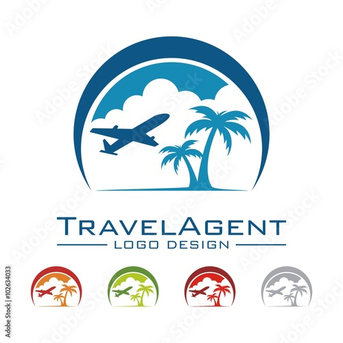 """Travel And Tour Logo, Plane, Palm, Land, Cloud, Crescent ..."