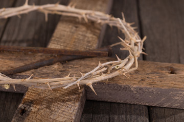 Crown of Thorns and Nails on a Rustic Wooden Cross