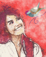 Contemporary painting of abstract girl with bird. Mixed media.