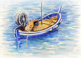 watercolor picture fishing boat in Mediterranean sea