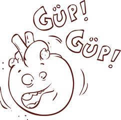 white backgroundvector illustration of a  heart cartoon characte