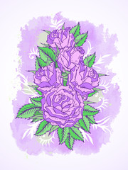 Vector illustration with roses, leaves and decorative branches with textured watercolor elements.
