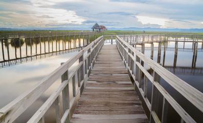 Wooden bridge at Sam Roi Yot National Park,Thailand