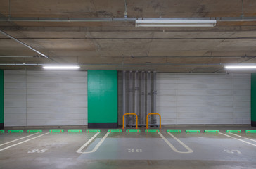 Interior of Empty underground car parking lot