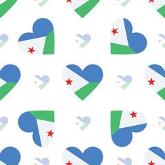 Djibouti flag heart seamless pattern. Patriotic Djibouti flag ba