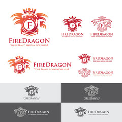 Fire Dragon Letter Crest. Heraldry dragon blowing fire emblem. Royal dragon badge