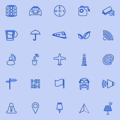 Map sign line icons on blue background