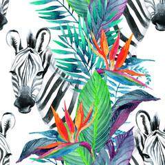 Foto op Plexiglas Paradijsvogel Tropical jungle seamless pattern. Floral design with zebra on white background.