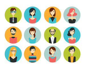 Avatar people head. Various cartoon modern faces for discussion forum. Flat design vector illustration.