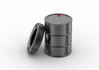 Oil barrel with tire
