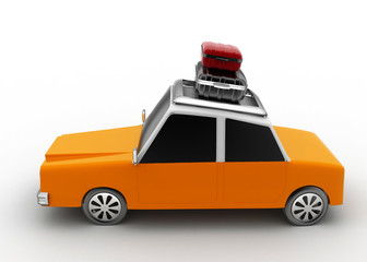3d rendering car with luggage