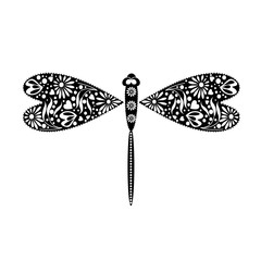 Vector illustration of insect. Decorative ornamental black dragonfly, isolated on the white background