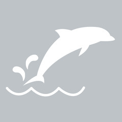 Photo sur Aluminium Dauphins Stylized icon of a Dolphin in white on a colored background
