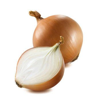 Whole yellow onion half piece isolated on white background