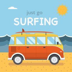 Travel Surfing Coach Bus on Summer Beach