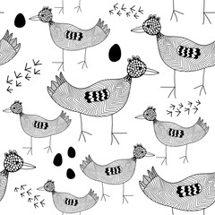 Seamless pattern with black and white birds.