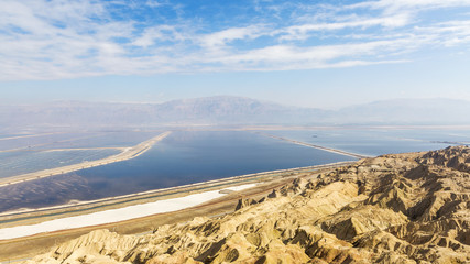 The hills of the Judean Desert, Dead Sea and mountain views Jordan